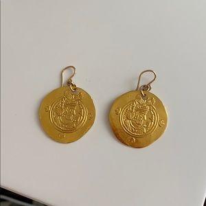 Devon Leigh gold coin earrings